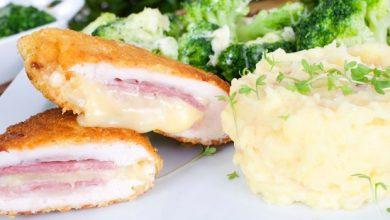 طريقة عمل الكوردن بلو مع البطاطس المهروسة بالبروكلي