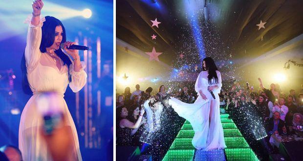 شاهد.. هيفاء وهبي بـ«فستان مايوه» في تونس