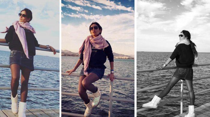 شاهد.. زينة تثير الجدل بـ«ميني جيب» على البحر في أحدث جلسة تصوير